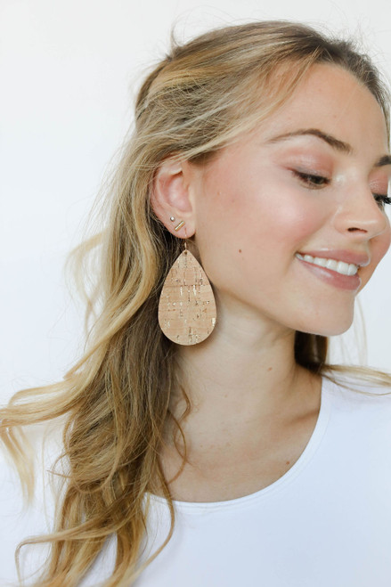Gold Cork Teardrop Leather Earrings   Nickel and Suede