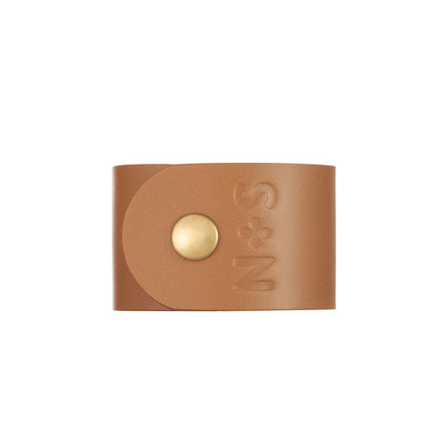 London Tan Wide Leather Cuff | Nickel & Suede