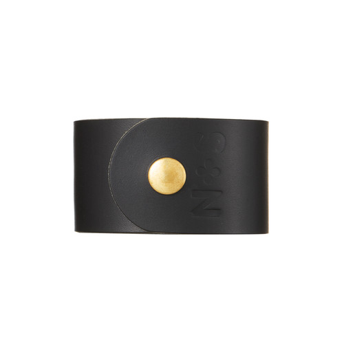 Black Wide Leather Cuff | Nickel and Suede