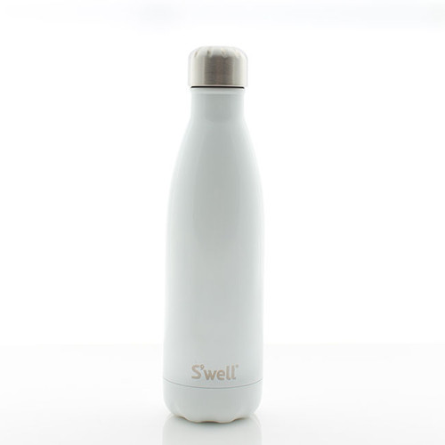 N&S Glossy White Water Bottle 17 oz