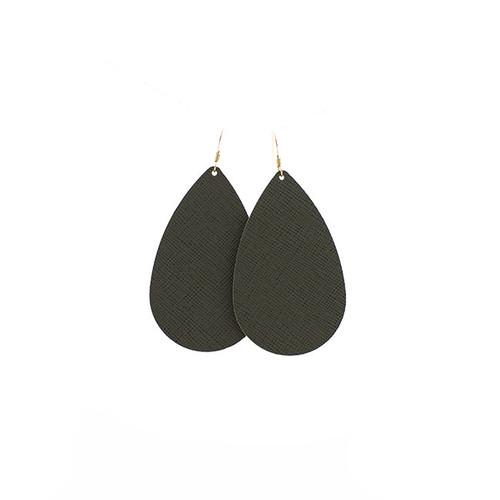 Green Fatigue Leather Earrings