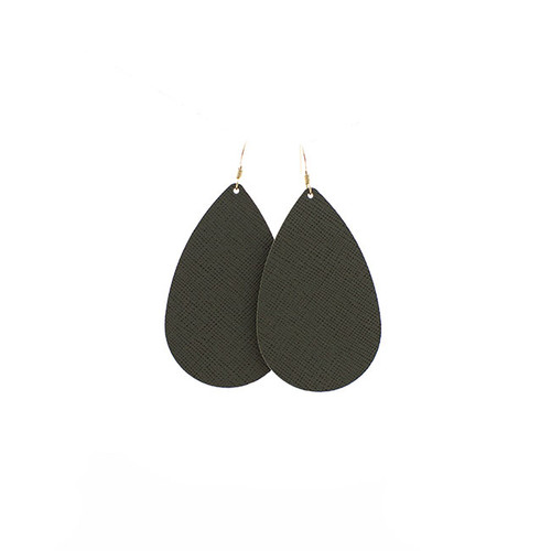 Green Fatigue Leather Earrings