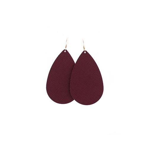 Nickel & Suede Leather Earrings│Merlot
