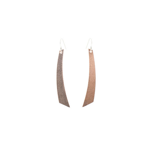 N S Signature Rose Gold Accent Leather Earrings