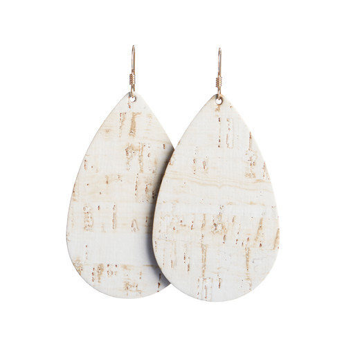 Nickel & Suede Leather Earrings | White Cork