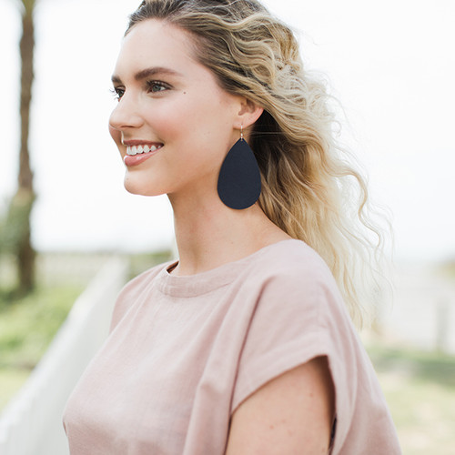 Nickel & Suede Leather Earrings │Navy Baby