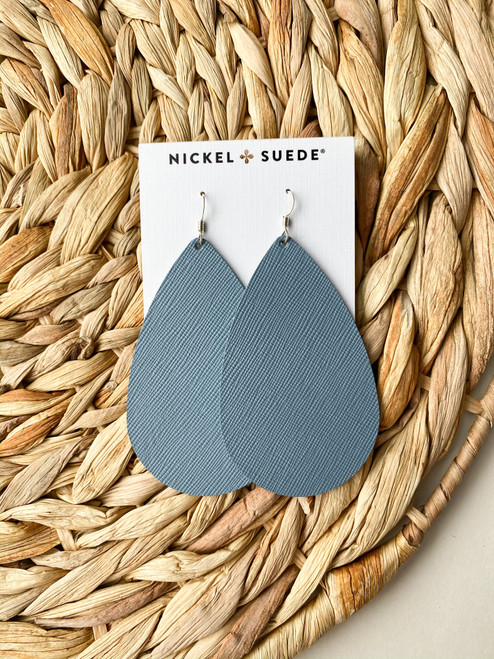 Chambray Leather Earrings