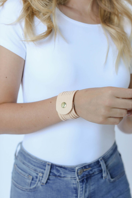 N&S Select Natural Slit Leather Cuff | Nickel and Suede