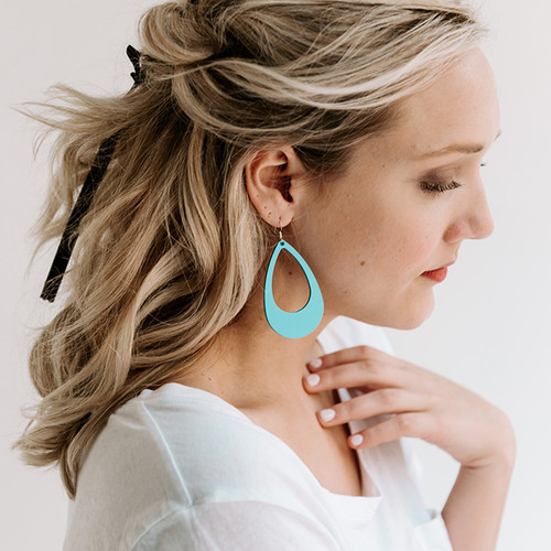 Nickel & Suede Leather Earrings | N&S Select Turquoise Cut-Out