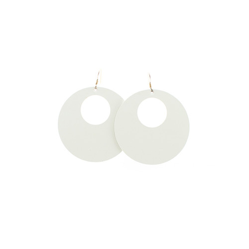 Nickel & Suede Leather Earrings | N&S Select White Nova