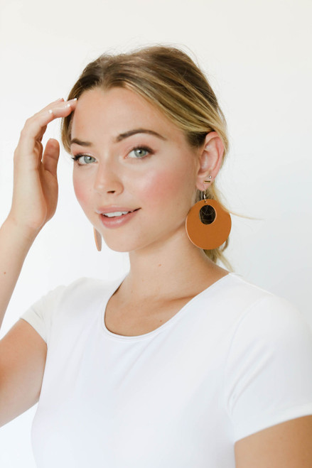 London Tan Nova Leather Earrings | Nickel and Suede