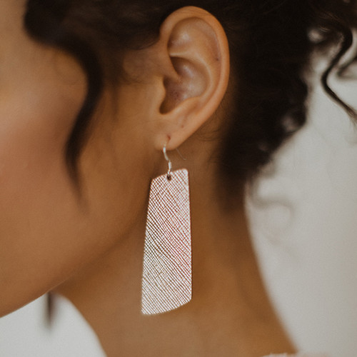 Rosé Gem Leather Earrings