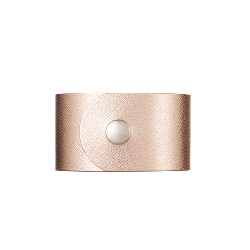 Rosé Wide Leather Cuff | Nickel and Suede