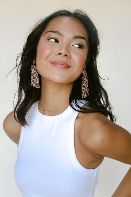 Gem Leather Earrings | Cheetah Cork