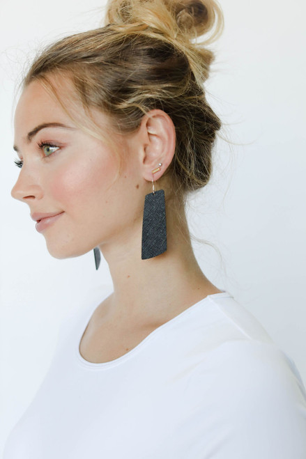 Onyx Gem Leather Earrings