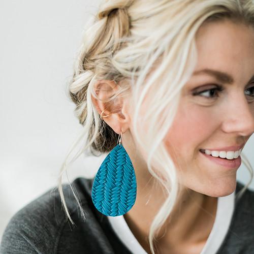 Nickel & Suede Leather Earrings │Glacier Knit