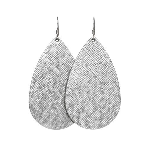 Nickel & Suede Leather Earrings | Silver Leaf