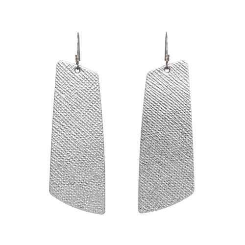 Silver Leaf Gem Leather Earring | Nickel and Suede