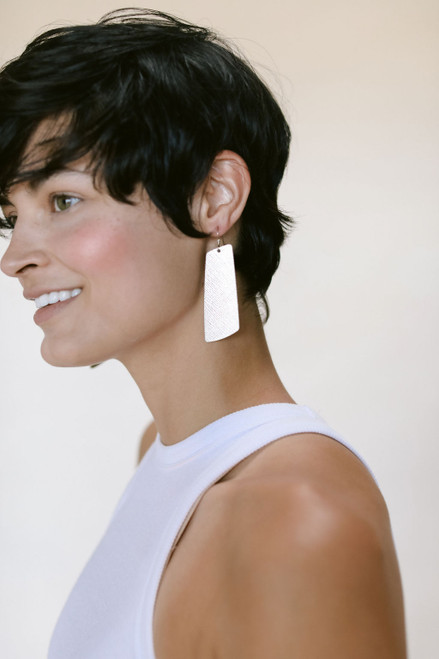 Silver Leaf Gem Leather Earrings