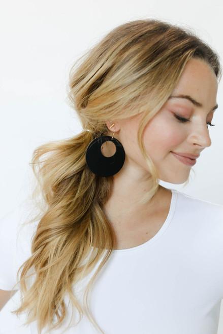 Select Black Nova Leather Earrings   Nickel and Suede