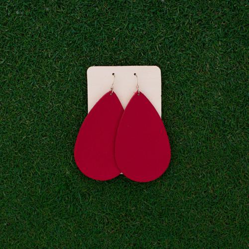 Nickel & Suede Leather Earrings │TEAM Red