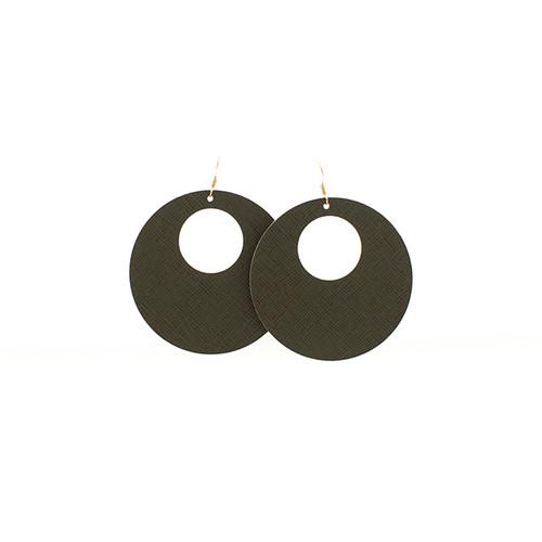 Nickel & Suede Leather Earrings | Green Fatigue Nova