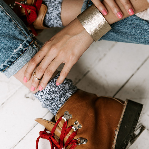 Leather Cuff | Gold Leaf Wide