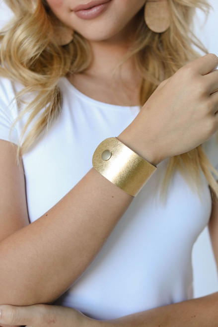 Gold Leaf Wide Leather Cuff
