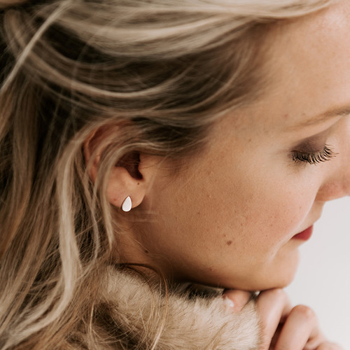 Nickel & Suede Stud Earrings | Teardrop Silver