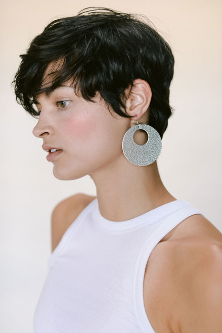 Silver Leaf Nova Leather Earrings