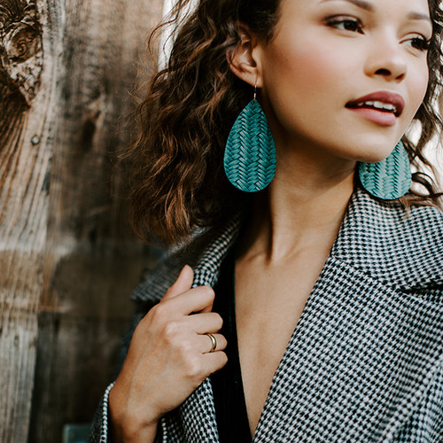 Nickel & Suede Leather Earrings | Evergreen Knit