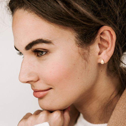 Nickel & Suede Stud Earrings | Teardrop Gold