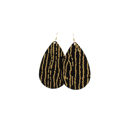 Nickel & Suede Leather Earrings | Gold Rush