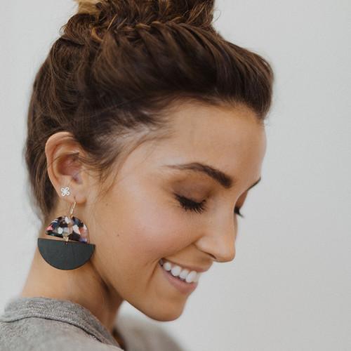 Nickel & Suede Stud Earrings | N&S Signature Gold