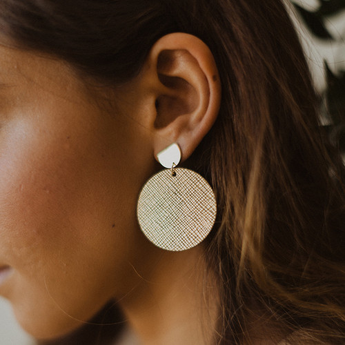Nickel & Suede Leather Earrings | Gold Leaf Disc Statement