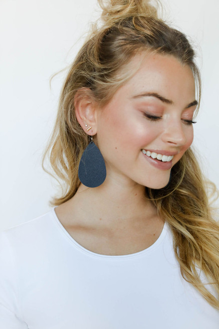 Onyx Leather Earrings | Nickel and Suede