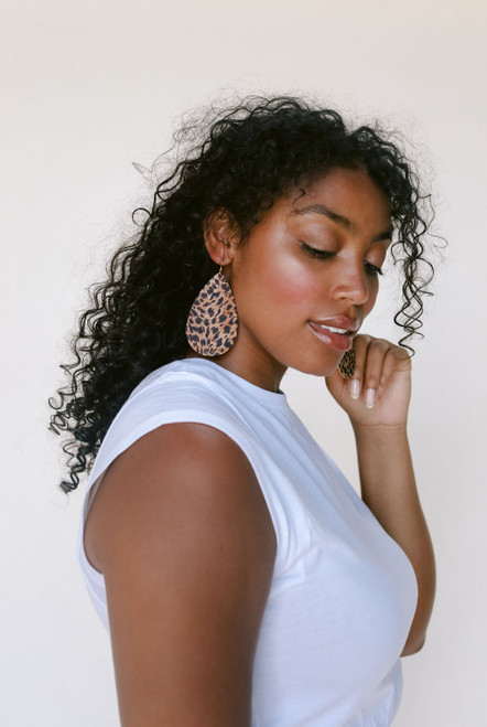 Nickel & Suede Leather Earrings | Cheetah Cork