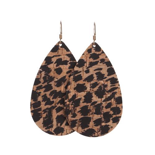 Nickel & Suede Leather Earrings | Cheetah Cork