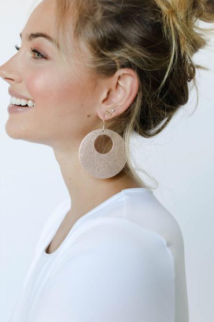 Rosé Nova Leather Earrings