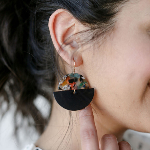 Leather Earrings | Black Luna