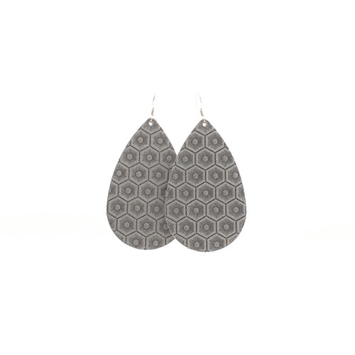 Leather Earrings | Dove Gray Blossom