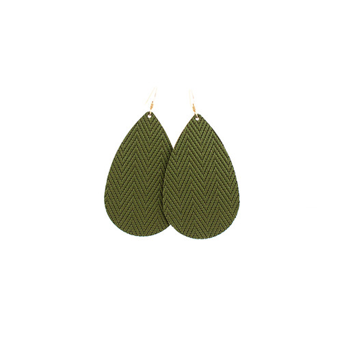 Green Palm Leather Earrings