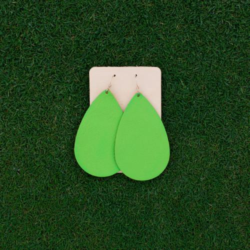 Nickel & Suede Leather Earrings │TEAM Lime