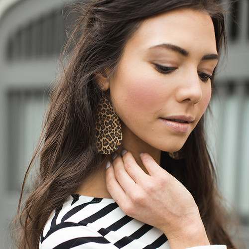 Spotted Leopard Leather Earrings | Nickel and Suede