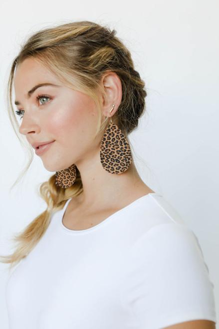 Spotted Leopard Leather Earrings