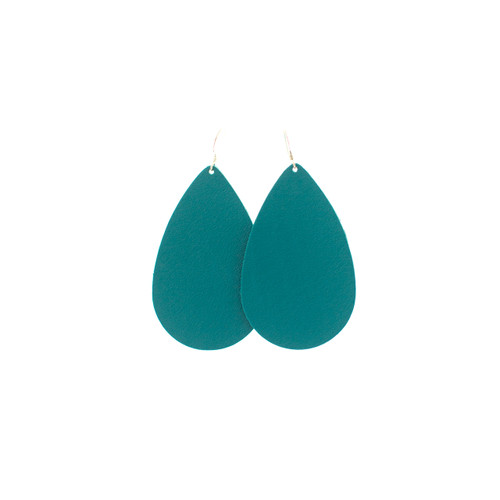 Teal Leather Earrings