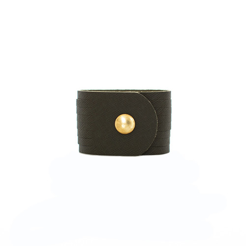 Green Fatigue Slit Leather Cuff