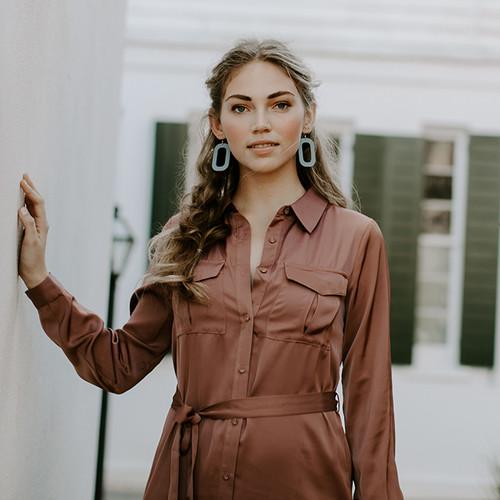 Chambray Bloch Leather Earrings