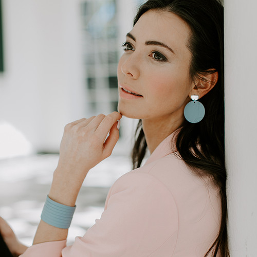 Chambray Disc Statement Leather Earrings with Silver Post