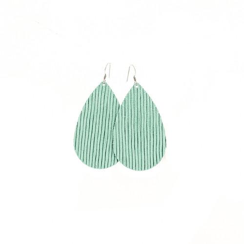 Aqua Row Leather Earrings